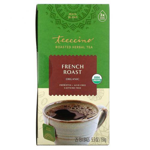 Teeccino,  Травяной кофе, сильная обжарка, органическая французская обжарка, без кофеина, 25 пакетиков, 5,3 унции (150г)