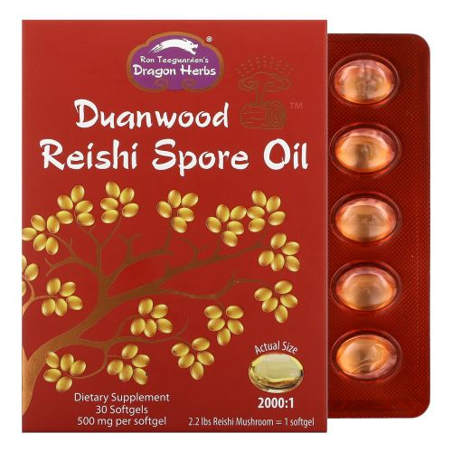 Dragon Herbs, Duanwood масло из спор грибов рейши, 500 мг, 30 капсул