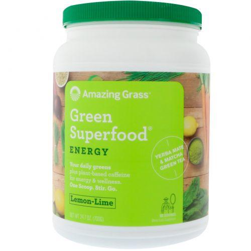 Amazing Grass, Зеленый суперпродукт, растворимый напиток с энергией лимона и лайма, 24.7 унций (700 г)