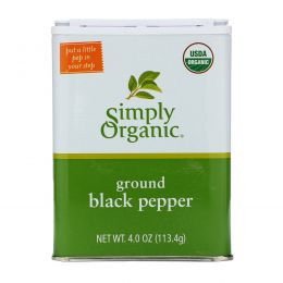Simply Organic, Молотый черный перец, 4 унции (113,4 г)