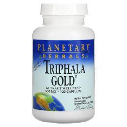 """Planetary Herbals, """"Трифала Голд"""", здоровье желудочно-кишечного тракта, 550 мг, 120 капсул"""