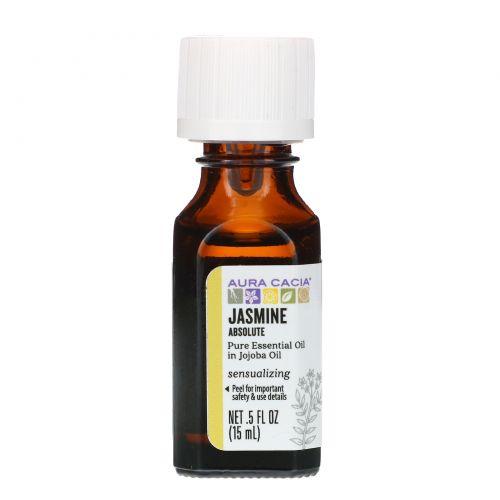 Aura Cacia, Jasmine Absolute, чувственный аромат, 5 жидких унций (15 мл)