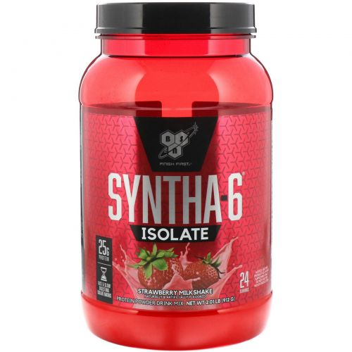BSN, Syntha-6 Isolate, протеиновый порошок, клубничный коктейль 2,01 фунта (912 г)