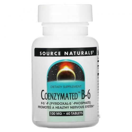 Source Naturals, Коферментный B-6, 100 мг, 60 таблеток