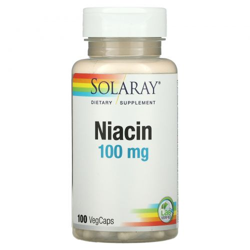 Solaray, Ниацин, 100 мг, 100 вегетарианских капсул
