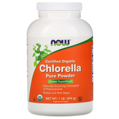 Now Foods, Сертифицированная натуральная хлорелла, чистый порошок, 1 фунт (454 г)