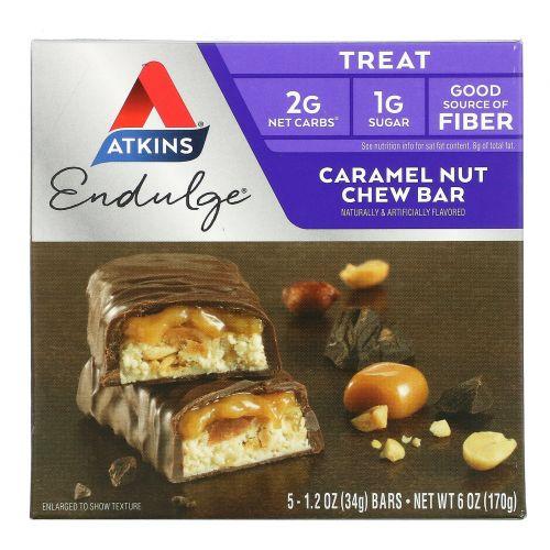 Atkins, Endulge, Батончики с карамелью и орехами, 5 батончиков, каждый по 1,2 унции (34 г)