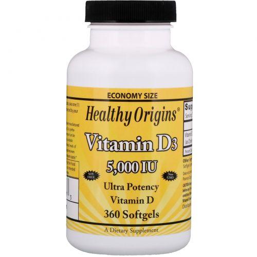Healthy Origins, Витамин D3, 5 000 МЕ, 360 желатиновых капсул