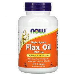 Now Foods, Льняное масло с высоким содержанием лигнана, сертифицированное органическое, 1000 мг, 120 желатиновых капсул