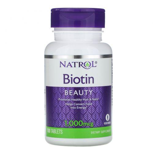 Natrol, Витамин H, 1000 мкг, 100 таблеток