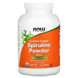 Now Foods, Сертифицированный органический порошок спирулины, 1 фунт (454 г)