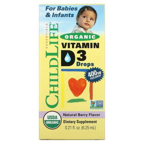 ChildLife, Капли с органическим витамином D3, природный ягодный вкус, 400 МЕ, 0,338 жидких унций (10 мл)