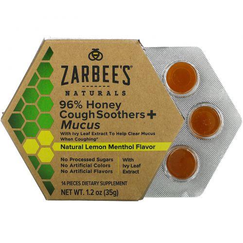 Zarbee's, Naturals, 96% Honey Cough Soothers + Mucus, Natural Lemon Menthol Flavor, 14 Pieces, 1.2 oz (35 g)