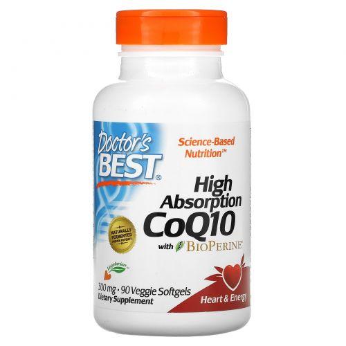 Doctor's Best, Коэнзим Q10 с высокой степенью всасывания, с BioPerine, 300мг, 90растительных мягких таблеток