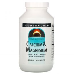 Source Naturals, Кальций и магний, 300 мг, 250 таблеток