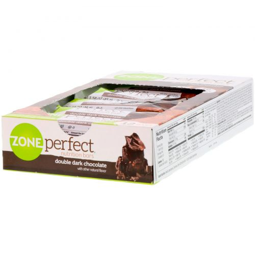 ZonePerfect, Темные, полностью натуральные питательные батончики, двойной темный шоколад, 12 батончиков, по 1,58 унции (45 г) каждый