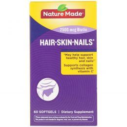 Nature Made, Средство для волос, кожи и ногтей, 60 гелевых капсул