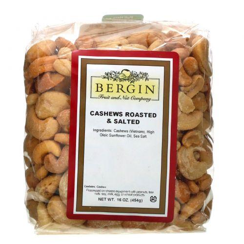 Bergin Fruit and Nut Company, Жареные и соленые орешки кешью, 16 унц. (454 г)