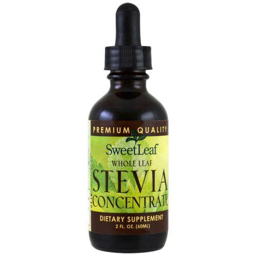 Wisdom Natural, SweetLeaf, цельнолистовой концентрат стевии 2 жидких унции (60 мл)