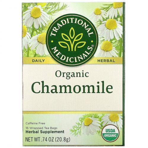 Traditional Medicinals, Травяной чай, органическая ромашка, без кофеина, 16 чайных пакетиков, 0,74 унции (20,8 г)
