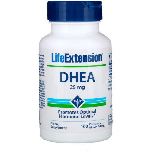 Life Extension, DHEA, 25 мг, 100 растворимых во рту таблеток