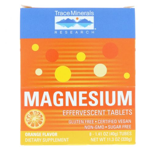 Trace Minerals Research, Magnesium Effervescent Tablets, 150 mg, Orange flavor, 8 Tubes 1.41 oz (40 g) Each