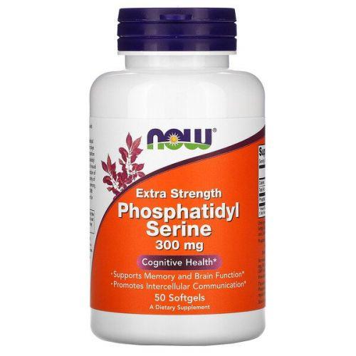 Now Foods, Фосфатидилсерин Extra Strength, 300 мг, 50 желатиновых капсул