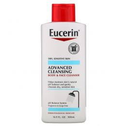 Eucerin, Advanced Cleansing, Body and Face Cleanser, Fragrance Free, 16.9 fl oz (500 ml)