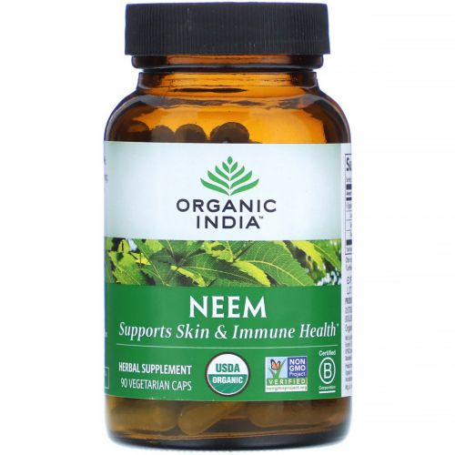 Organic India, Ним, очиститель крови, 90 капсул растительного происхождения
