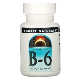 Source Naturals, Витамин В-6, 100 мг, 100 таблеток
