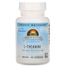 Source Naturals, L-Тианин, 200 мг, 60 капсул