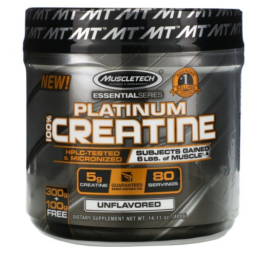 Muscletech, Essential Series, Platinum 100%  Micronized Creatine, Unflavored, 0.88 lbs (400 g)