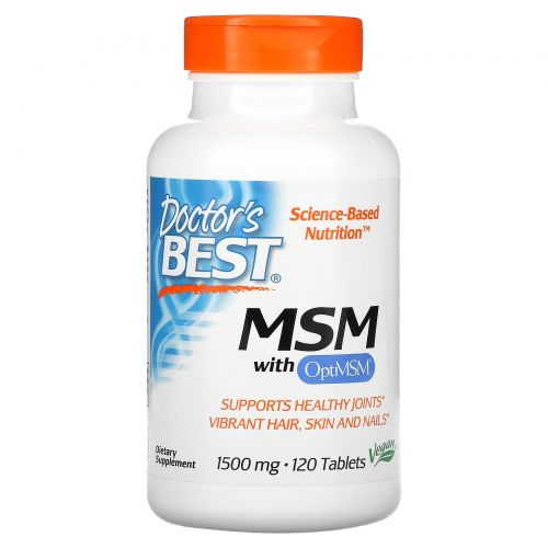 Doctor's Best, MSM with OptiMSM, 1,500 mg, 120 Tablets
