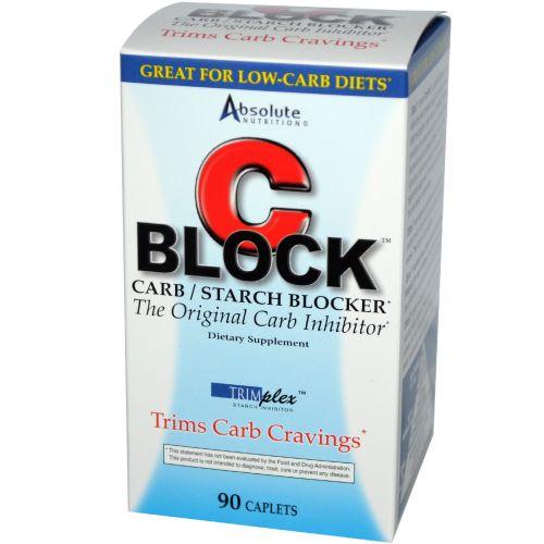 Absolute Nutrition, C Block, блокировщик крахмала и углеводов, 90 капсул