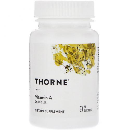 Thorne Research, Витамин А, 90 растительных капсул
