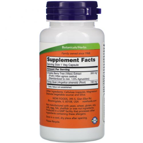 Now Foods, Экстракт плодов Витекса, 300 мг, 90 капсул
