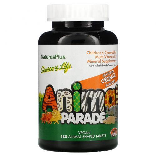 Nature's Plus, «Источник жизни», парад животных, детские жевательные мультивитамины и микроэлемент с натуральным апельсиновым вкусом, 180 животных