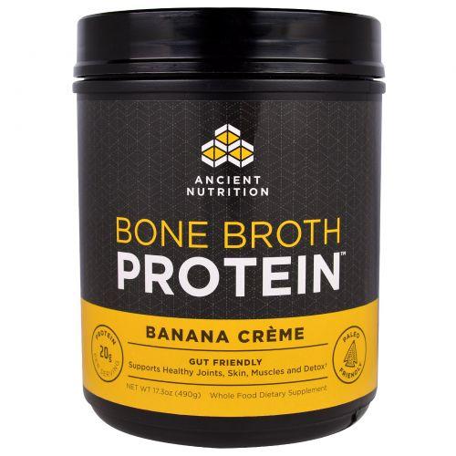 """Ancient Nutrition, """"Белок костного бульона"""", белковый порошок со вкусом бананового крема, 17,3 унции (490 г)"""