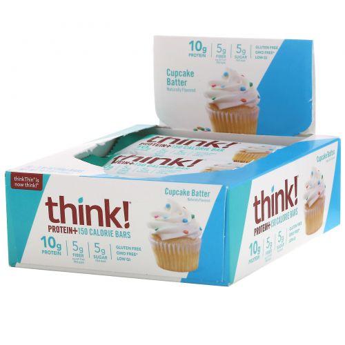 ThinkThin, Protein+, 10батончиков Cupcake Batter по 40г (1,41 унции) и 150калорий каждый