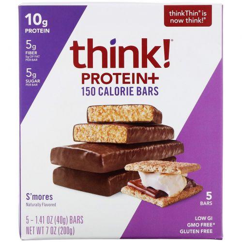 ThinkThin, Протеиновый батончик с клетчаткой, смор, 5 баточников, 1,41 унц. (40 г) каждый