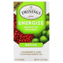 Twinings, Энергетический травяной чай, маття, клюква и лайм, 18 чайных пакетиков, 1,27 унции (36 г)