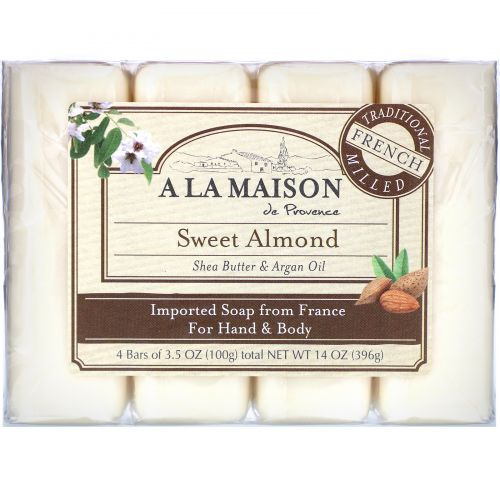 A La Maison de Provence, Мыло для рук & тела, Сладкий миндаль, 4 бруска по 3.5 унции