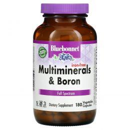 Bluebonnet Nutrition, Мультиминералы с добавлением бора, без содержания железа, 180 капсул в растительной оболочке