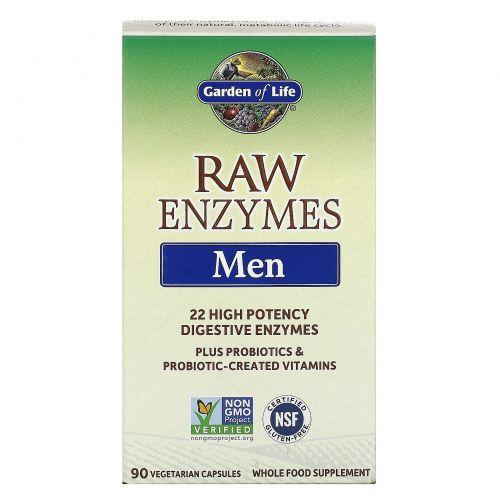 Garden of Life, Сырые ферменты для мужчин, 90 капсул на растительной основе