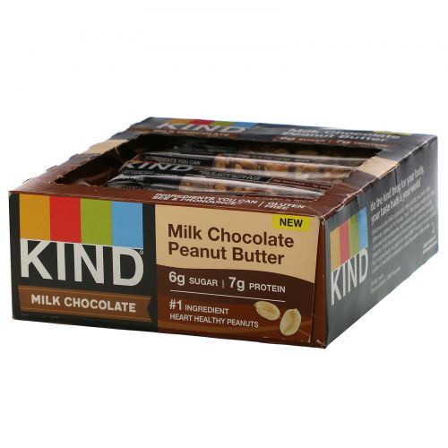 KIND Bars, Milk Chocolate, Peanut Butter, 12 Bars, 1.4 oz (40 g) Each