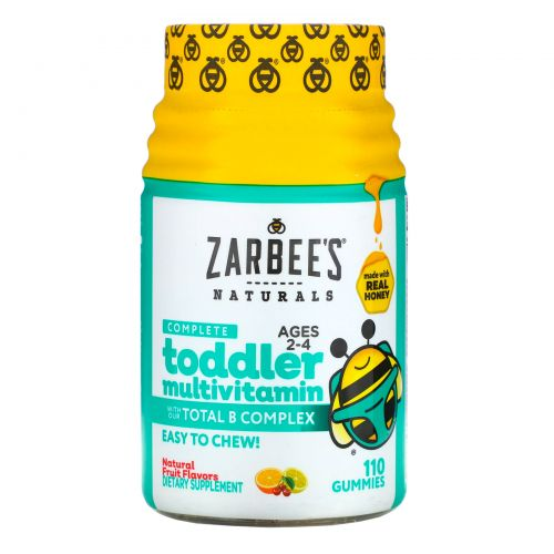 Zarbee's, Мультивитаминный комплекс для малышей, подслащенный медом, 110 жевательных пастилок