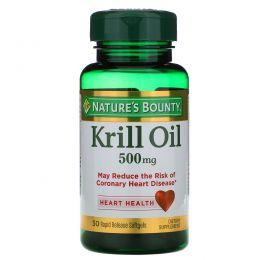 Nature's Bounty, Жир красного криля, 500 мг, 30 мягких желатиновых капсул