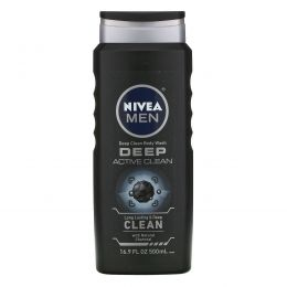 Nivea, Men, Deep Clean Body Wash, Deep Active Clean, 16.9 fl oz (500 ml)