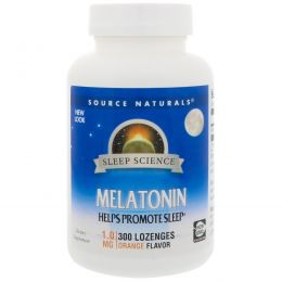 Source Naturals, Мелатонин, леденцы со вкусом апельсина, 1 мг, 300 леденцов