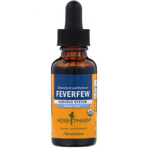 Herb Pharm, Пижма девичья (пиретрум), листья и цветки, нервная система, 1 жидкая унция (30 мл)
